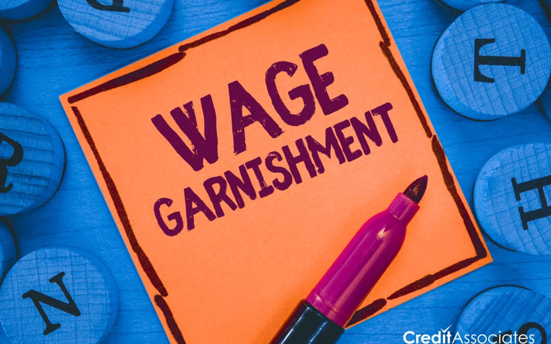 Wage Garnishment on a sticky note