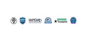 BSI, IAPDA, Trustpilot logos