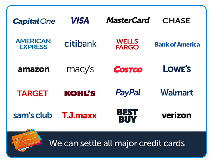 Image of credit card accounts we settle